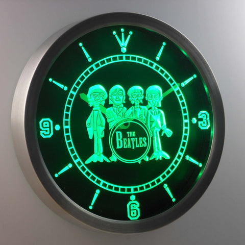 Image of The Beatles Drum LED Neon Wall Clock - Green - SafeSpecial