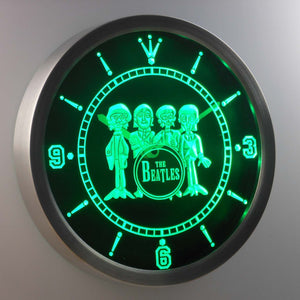 The Beatles Drum LED Neon Wall Clock - Green - SafeSpecial