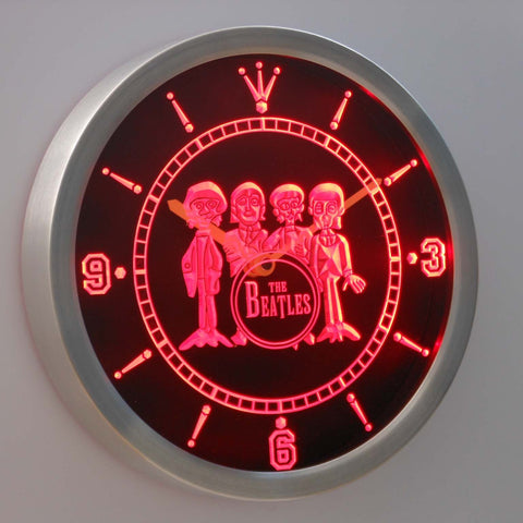 Image of The Beatles Drum LED Neon Wall Clock - Red - SafeSpecial