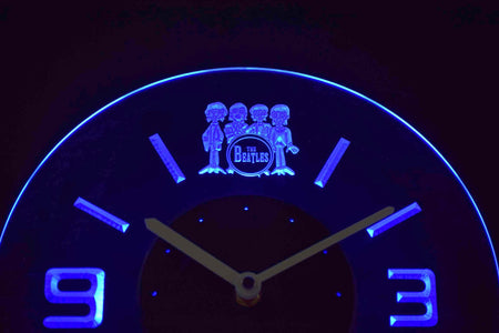 The Beatles Drum Modern LED Neon Wall Clock - Blue - SafeSpecial