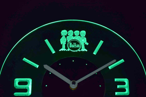 Image of The Beatles Drum Modern LED Neon Wall Clock - Green - SafeSpecial