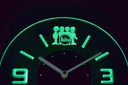 The Beatles Drum Modern LED Neon Wall Clock - Green - SafeSpecial