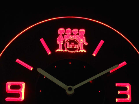Image of The Beatles Drum Modern LED Neon Wall Clock - Red - SafeSpecial