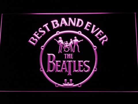 The Beatles Logo in Bass Drum Best Band Ever LED Neon Sign - Purple - SafeSpecial