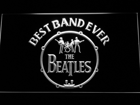 The Beatles Logo in Bass Drum Best Band Ever LED Neon Sign - White - SafeSpecial