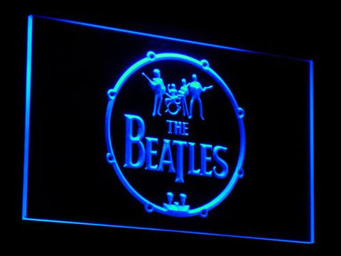 The Beatles Logo in Bass Drum LED Neon Sign - Blue - SafeSpecial