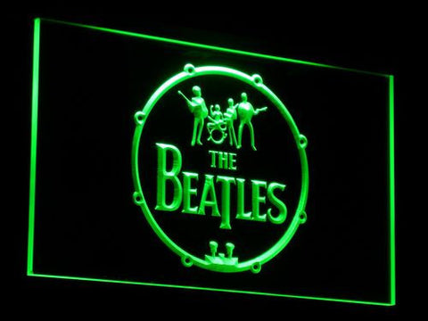 Image of The Beatles Logo in Bass Drum LED Neon Sign - Green - SafeSpecial