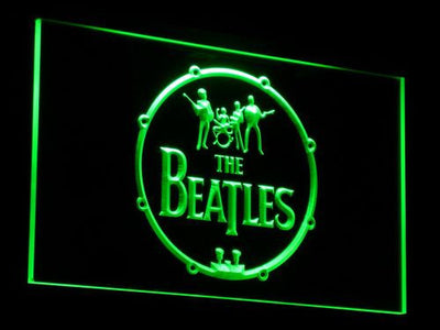 The Beatles Logo in Bass Drum LED Neon Sign - Green - SafeSpecial