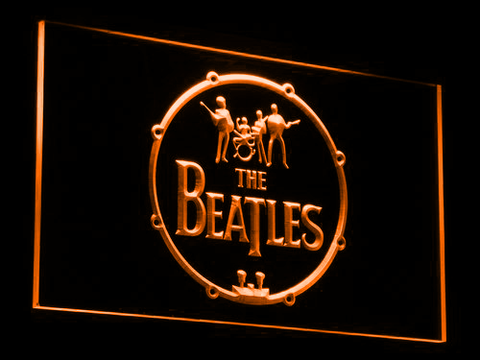 The Beatles Logo in Bass Drum LED Neon Sign - Orange - SafeSpecial