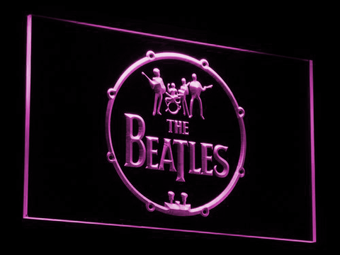 The Beatles Logo in Bass Drum LED Neon Sign - Purple - SafeSpecial
