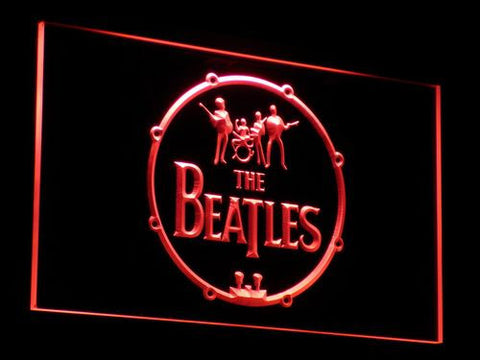 The Beatles Logo in Bass Drum LED Neon Sign - Red - SafeSpecial