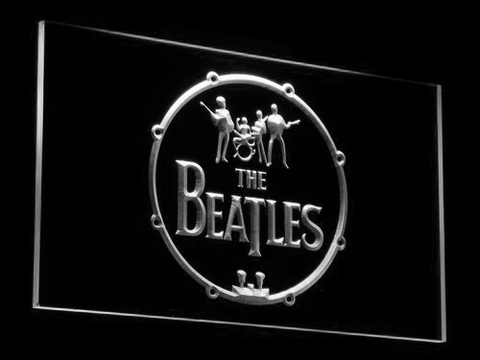 Image of The Beatles Logo in Bass Drum LED Neon Sign - White - SafeSpecial
