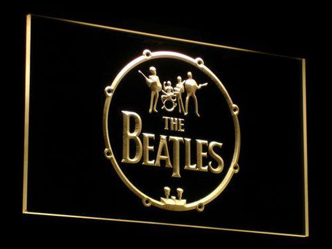 Image of The Beatles Logo in Bass Drum LED Neon Sign - Yellow - SafeSpecial