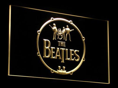 The Beatles Logo in Bass Drum LED Neon Sign - Yellow - SafeSpecial