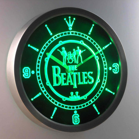 Image of The Beatles Logo in Bass Drum LED Neon Wall Clock - Green - SafeSpecial