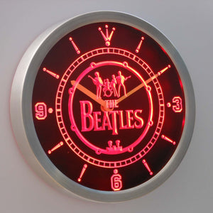 The Beatles Logo in Bass Drum LED Neon Wall Clock - Red - SafeSpecial