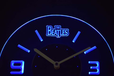 Image of The Beatles Modern LED Neon Wall Clock - Blue - SafeSpecial