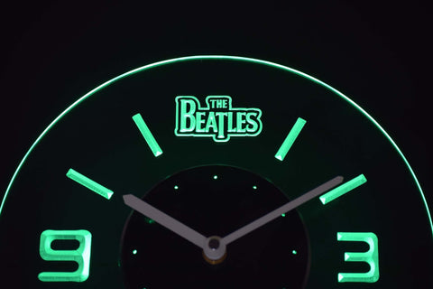 Image of The Beatles Modern LED Neon Wall Clock - Green - SafeSpecial