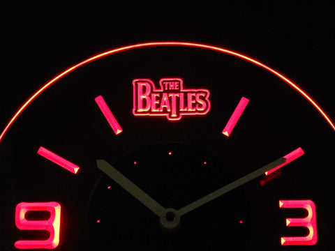 Image of The Beatles Modern LED Neon Wall Clock - Red - SafeSpecial