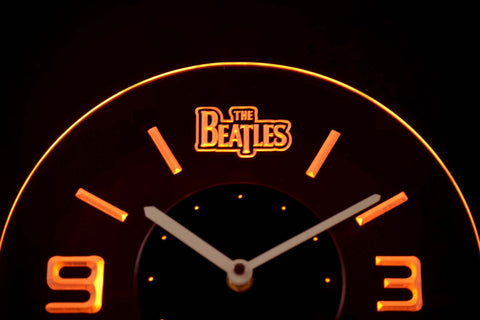 Image of The Beatles Modern LED Neon Wall Clock - Yellow - SafeSpecial