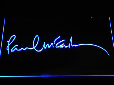 The Beatles Paul McCartney Signature LED Neon Sign - Blue - SafeSpecial