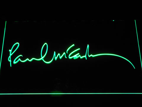 The Beatles Paul McCartney Signature LED Neon Sign - Green - SafeSpecial