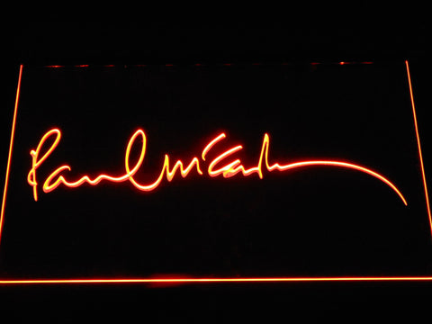 The Beatles Paul McCartney Signature LED Neon Sign - Orange - SafeSpecial