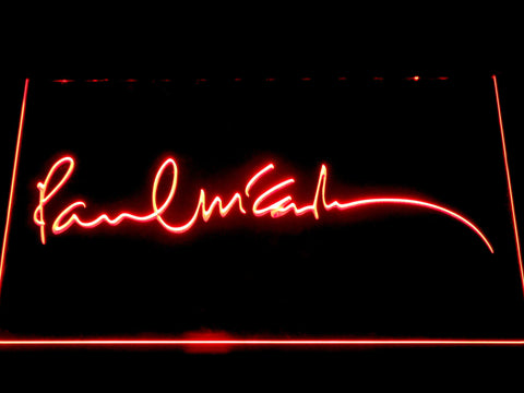 The Beatles Paul McCartney Signature LED Neon Sign - Red - SafeSpecial