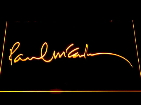 The Beatles Paul McCartney Signature LED Neon Sign - Yellow - SafeSpecial