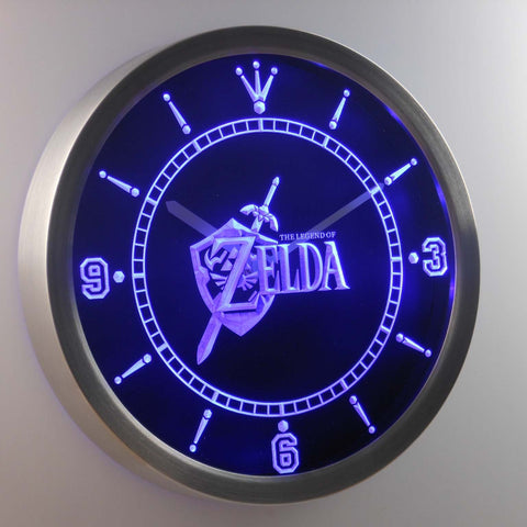 Image of The Legend of Zelda LED Neon Wall Clock - Blue - SafeSpecial