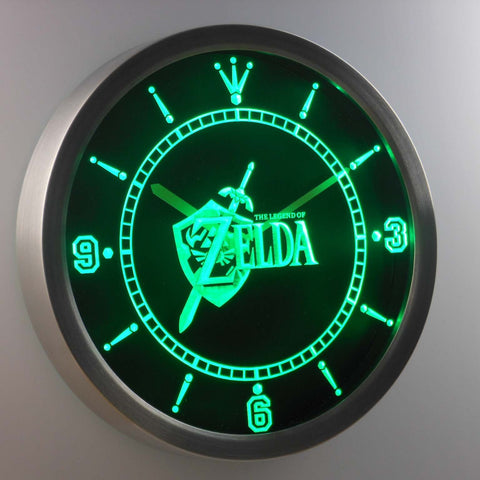 Image of The Legend of Zelda LED Neon Wall Clock - Green - SafeSpecial