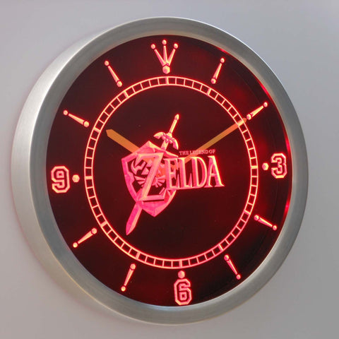 Image of The Legend of Zelda LED Neon Wall Clock - Red - SafeSpecial