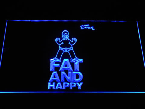 Image of The Simpsons Fat and Happy LED Neon Sign - Blue - SafeSpecial