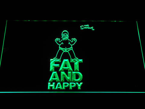 Image of The Simpsons Fat and Happy LED Neon Sign - Green - SafeSpecial