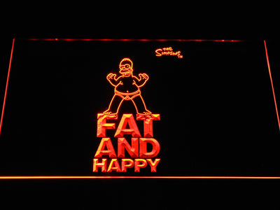 The Simpsons Fat and Happy LED Neon Sign - Orange - SafeSpecial