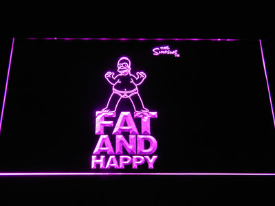 The Simpsons Fat and Happy LED Neon Sign - Purple - SafeSpecial
