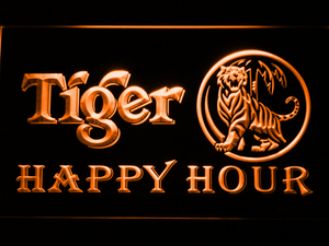 Tiger Happy Hour LED Neon Sign - Orange - SafeSpecial