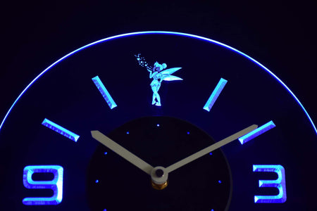 Tinkerbell Modern LED Neon Wall Clock - Blue - SafeSpecial