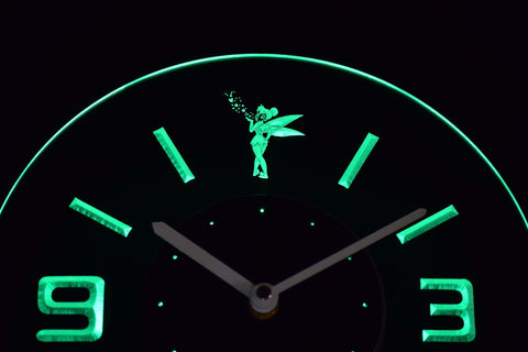 Image of Tinkerbell Modern LED Neon Wall Clock - Green - SafeSpecial
