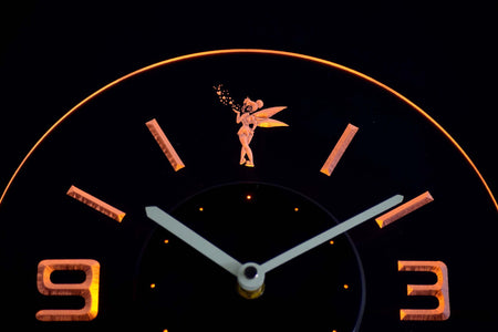 Tinkerbell Modern LED Neon Wall Clock - Yellow - SafeSpecial