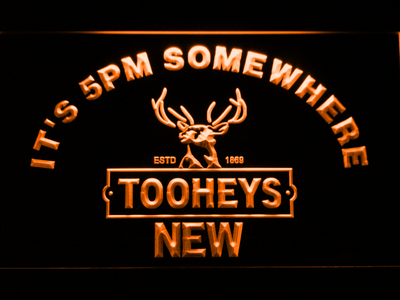 Tooheys It's 5pm Somewhere LED Neon Sign - Orange - SafeSpecial