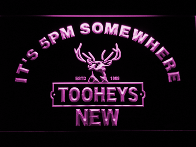 Tooheys It's 5pm Somewhere LED Neon Sign - Purple - SafeSpecial