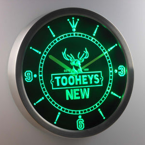 Tooheys New LED Neon Wall Clock - Green - SafeSpecial