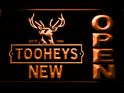 Toohey's Open LED Neon Sign - Orange - SafeSpecial