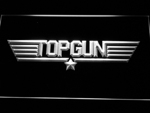 Image of Top Gun LED Neon Sign - White - SafeSpecial