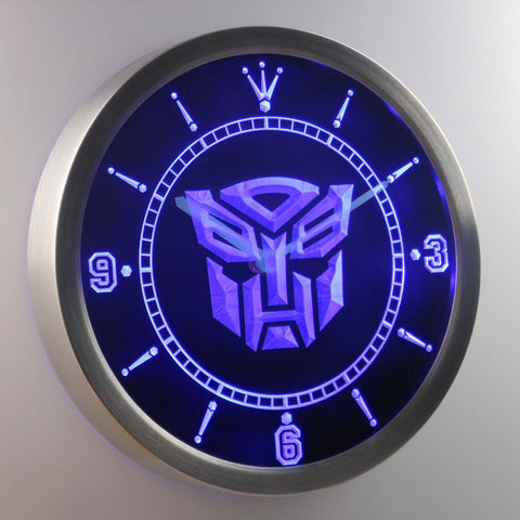 Image of Transformers Autobots Icon LED Neon Wall Clock - Blue - SafeSpecial