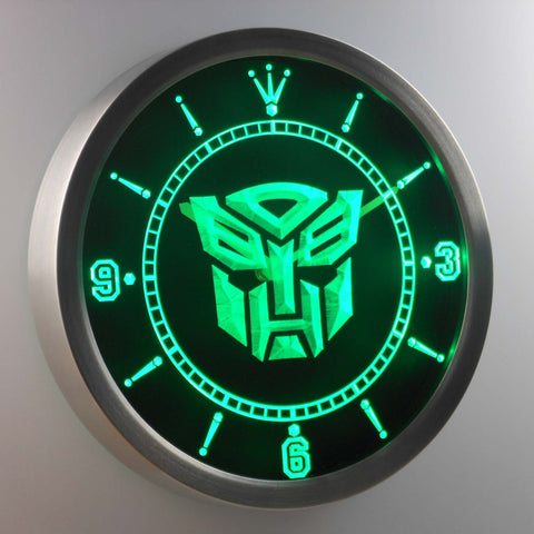 Image of Transformers Autobots Icon LED Neon Wall Clock - Green - SafeSpecial