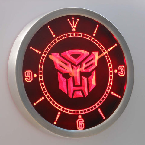 Image of Transformers Autobots Icon LED Neon Wall Clock - Red - SafeSpecial