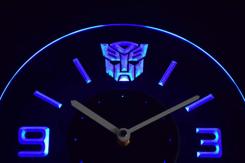 Image of Transformers Autobots Icon Modern LED Neon Wall Clock - Blue - SafeSpecial