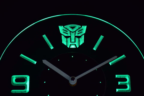 Image of Transformers Autobots Icon Modern LED Neon Wall Clock - Green - SafeSpecial
